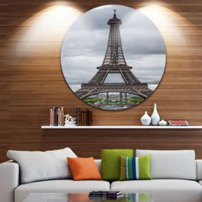 Design Art Grayscale Paris Eiffel Tower CityscapePhotography Circle Metal Wall Art