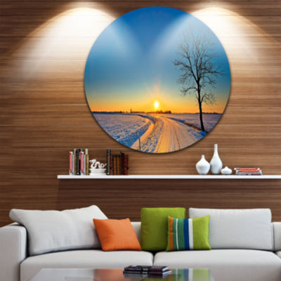Design Art Distant Sunset in Winter Landscape Photography Circle Metal Wall Art