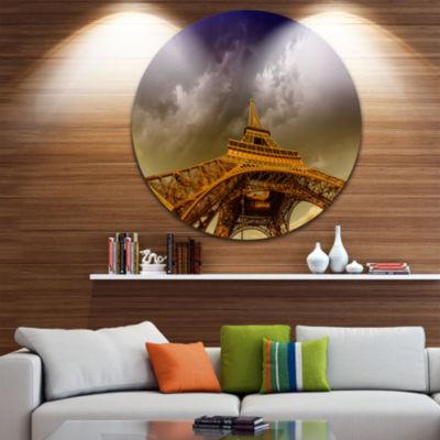 Design Art Paris Eiffel Towerand Gorgeous Sky Circle Metal Wall Art