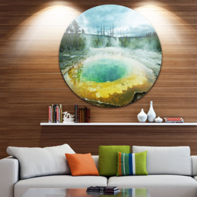 Design Art Morning Glory Pool Under Clouds Landscape Photography Circle Metal Wall Art