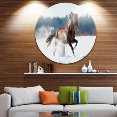 Design Art Horse Running in Winter Landscape Photography Circle Metal Wall Art