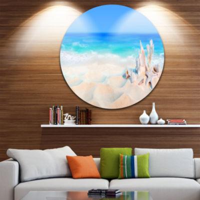 Design Art Seashells on Seashore Beach PhotographyCircle Metal Wall Art