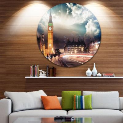Design Art Big Ben UK from Westminster Bridge Circle Metal Wall Art