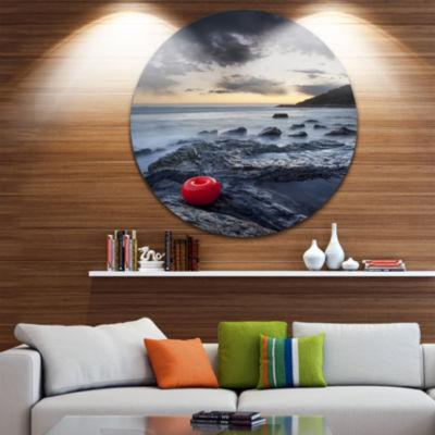 Design Art Dark Sunset at Livorno Landscape PhotoCircle Metal Wall Art