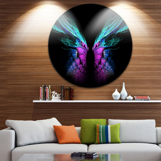 Design Art Blue Butterfly Wings Floral Circle Metal Wall Art