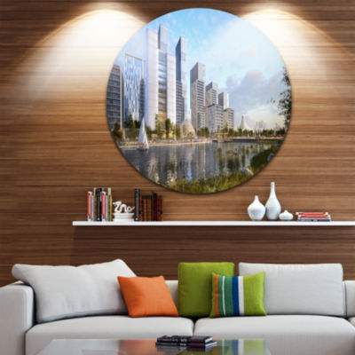 Design Art Residential Complex Cityscape Photography Circle Metal Wall Art