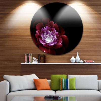 Design Art Purple Abstract Fractal Flower Floral Circle Metal Wall Art