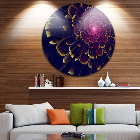 Design Art Fractal Flower with Yellow Details Floral Circle Metal Wall Art