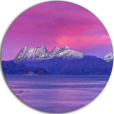Design Art Ushuaia Sunrise Argentina Beach and Shore Circle Metal Wall Art