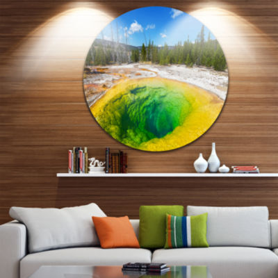 Design Art Morning Glory Pool Close up Landscape Photography Circle Metal Wall Art
