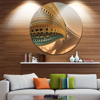 Design Art Bulgy Brown 3D Structure Abstract Circle Metal Wall Art
