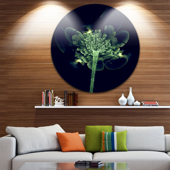 Design Art Green Fractal Flower in Air Floral Circle Metal Wall Art