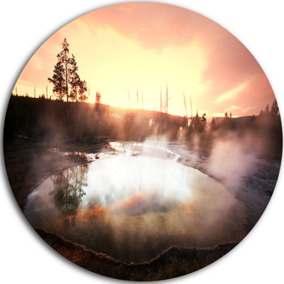 Design Art Evening at Morning Glory Pool LandscapePhotography Circle Metal Wall Art