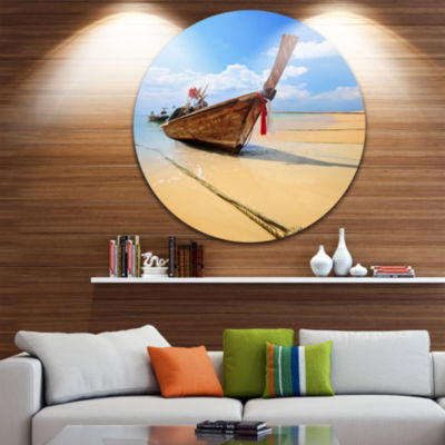 Design Art Thai Long tail Boat Beach and Shore Circle Metal Wall Art