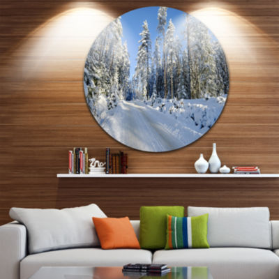Design Art Snowy Blue Winter Landscape PhotographyCircle Metal Wall Art
