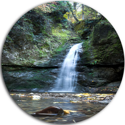 Design Art Nanayo Waterfall Japan Landscape PhotoCircle Metal Wall Art