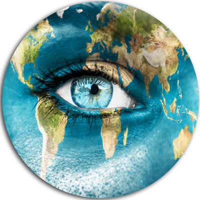 Design Art Planet Earth and Blue Eye Abstract Circle Metal Wall Art