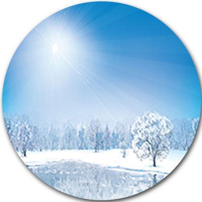 Design Art Glowing Winter Sun Landscape Photography Circle Metal Wall Art