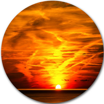 Design Art Sunset in Liguria Italy Landscape Photography Circle Metal Wall Art