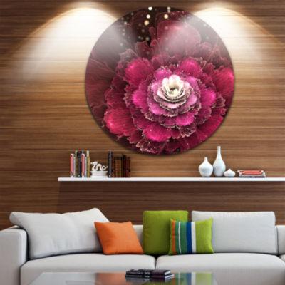Design Art Fractal Red Rose Flower Floral Circle Metal Wall Art