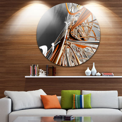 Design Art Fractal Red N White Connected Stripes Circle Metal Wall Art