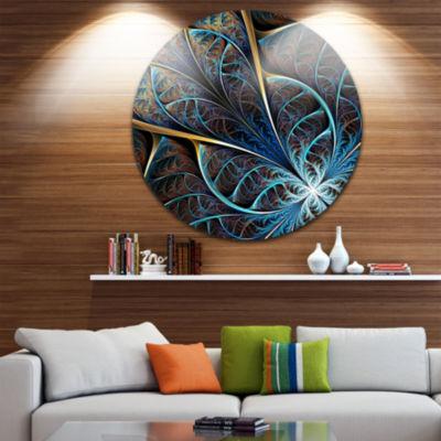 Design Art Abstract Brown Fractal Flower Floral Circle Metal Wall Art