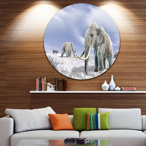 Design Art Mammoth Elephants in Field Landscape Photography Circle Metal Wall Art