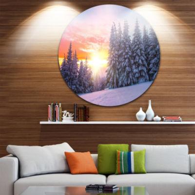 Design Art Winter Sunset in Bulgaria Landscape Photo Circle Metal Wall Art