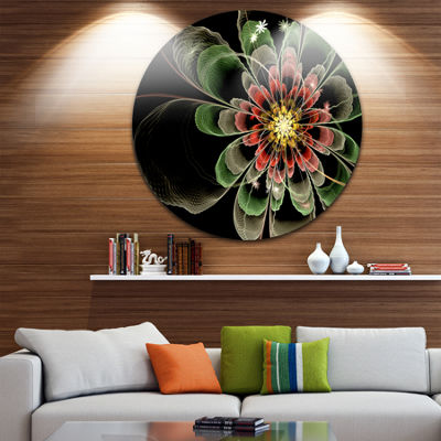Design Art Abstract Green Fractal Flower Floral Circle Metal Wall Art