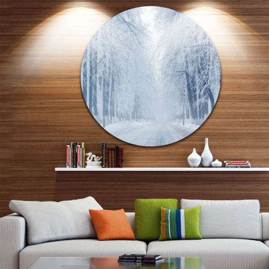Design Art White Road and Winter Trees Landscape Photography Circle Metal Wall Art