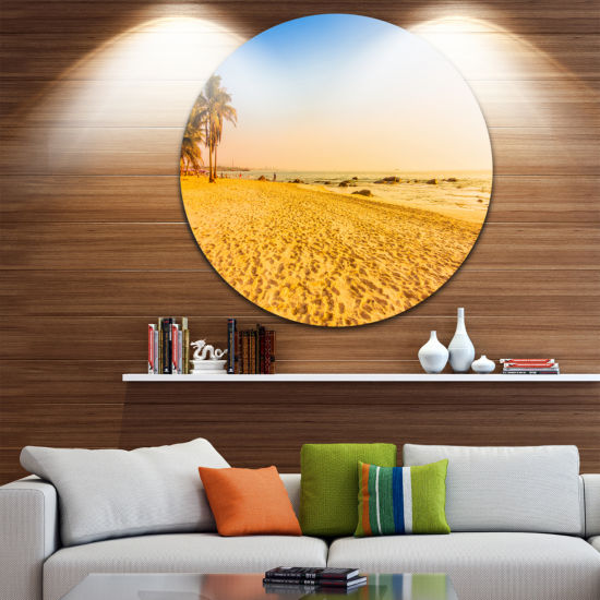 Design Art Coconut Palm Trees on Beach Landscape Photography Circle Metal Wall Art