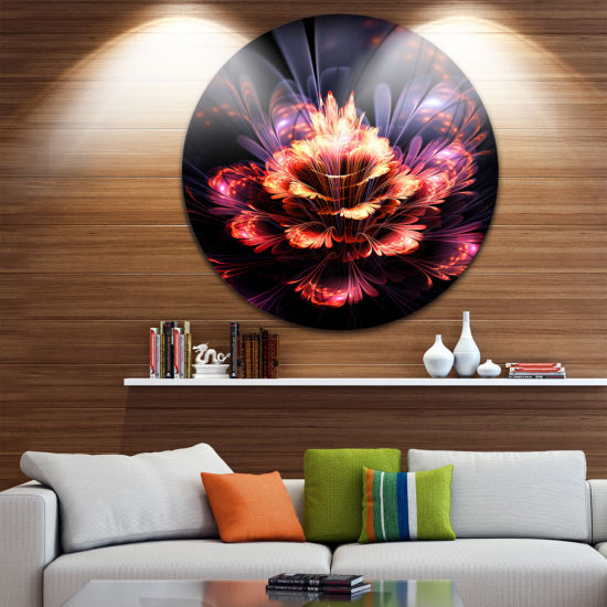Design Art Fractal Flower Orange and Purple FloralCircle Metal Wall Art