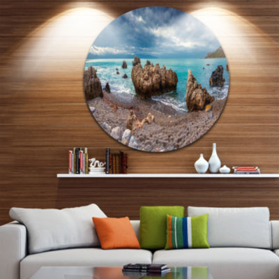 Design Art Blue Volcanic Beach Circle Metal Wall Art