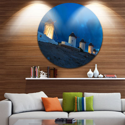Design Art Mykonos Windmills at Blue Hour Landscape Photography Circle Metal Wall Art