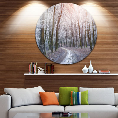 Design Art Misty Trail in Autumn Forest Circle Metal Wall Art