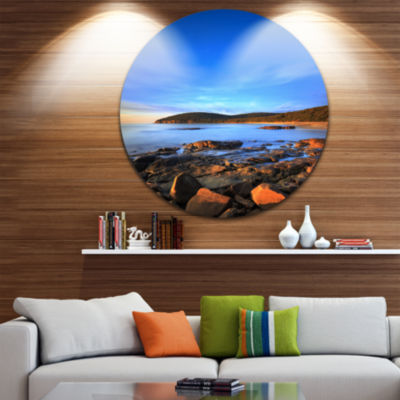 Design Art Cala Violina Bay Beach Sunset SeashorePhoto Circle Metal Wall Art