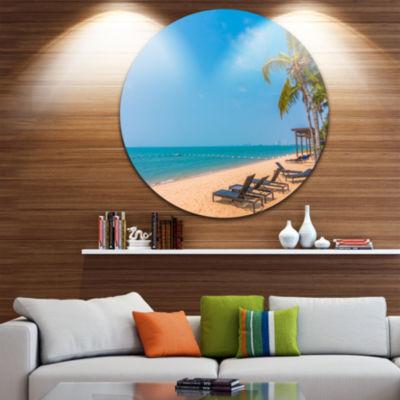 Design Art Blue Beach with Palm Trees Seashore Photo Circle Metal Wall Art