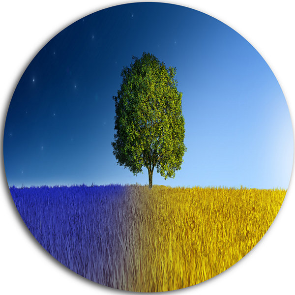 Design Art Tree in Night and Day Landscape CircleMetal Wall Art