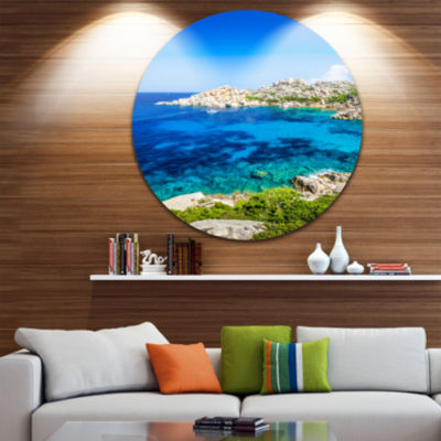 Design Art Ocean Bay with Turquoise Water SeascapeCircle Metal Wall Art