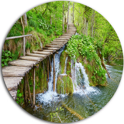 Design Art Cascades in Plitvice Lakes Circle MetalWall Art