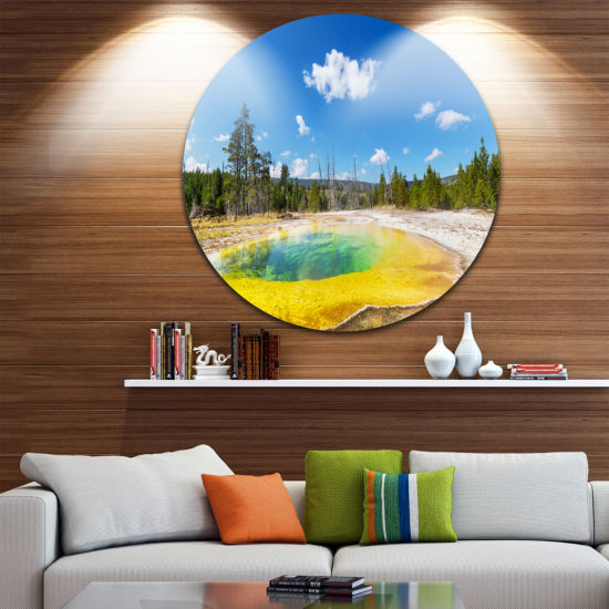 Design Art Morning Glory Pool with Bright Sky Landscape Photography Circle Metal Wall Art