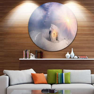 Design Art House of Rescuers Hoverla Landscape Photo Circle Metal Wall Art