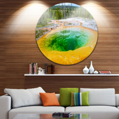 Design Art Bright Morning Glory Pool Landscape Photo Circle Metal Wall Art