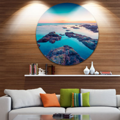 Design Art Blue Sicily Island Circle Metal Wall Art