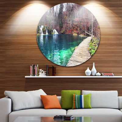 Design Art Plitvice Lakes National Lark Circle Metal Wall Art