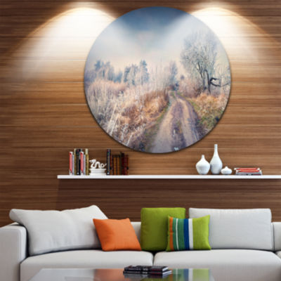 Design Art First Frost in Forest Circle Metal WallArt