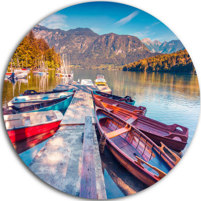 Design Art Bohinj Lake in Morning Circle Metal Wall Art