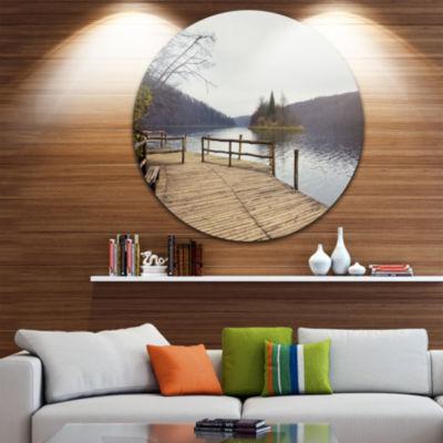 Design Art Plitvice Lakes Wooden Bridge Circle Metal Wall Art