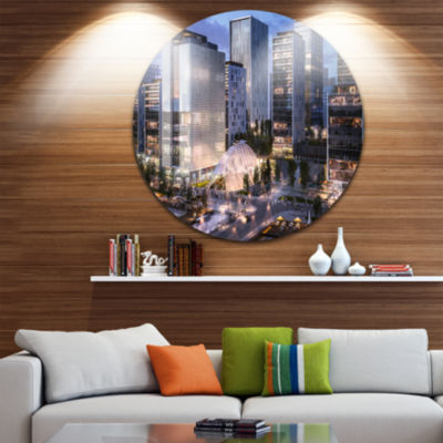 Design Art Residential Complex Close up CityscapePhoto Circle Metal Wall Art