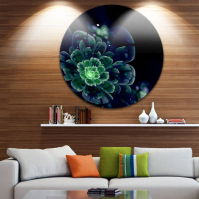 Design Art Green Abstract Fractal Flower Floral Circle Metal Wall Art